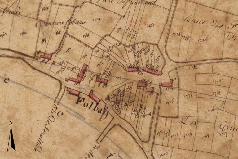 Extrait du plan cadastral de 1819, section F3.