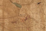 Extrait du plan cadastral de 1819, section B1, parcelle n° 498.