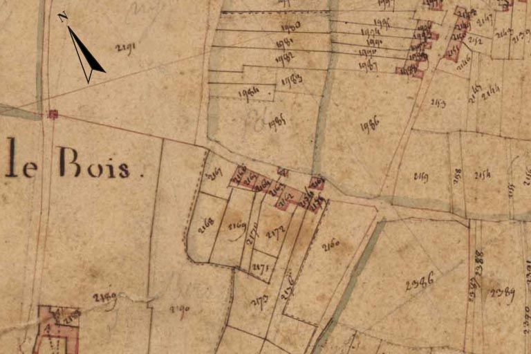 Extrait du plan cadastral de 1820, section T2.